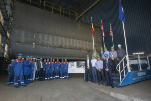 Keel-laying for Hanson aggregate dredger