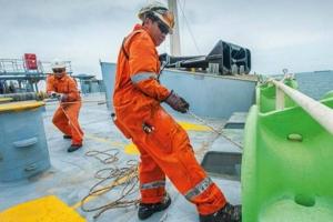 World fleet sound horns for crews on labour day